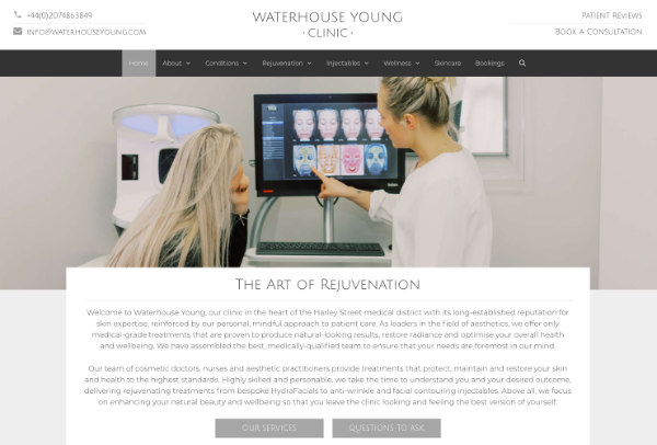 bespoke website redesign for a clinic in London