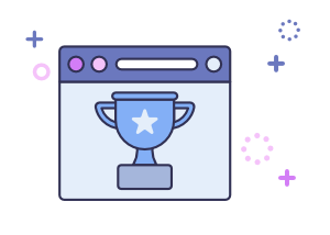 conversion rate optimisation shown by a trophy on a computer screen to resemble a winning test