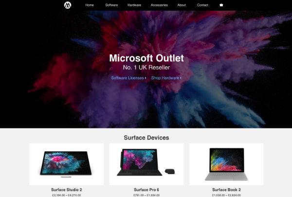 e-commerce website design for microsoft outlet