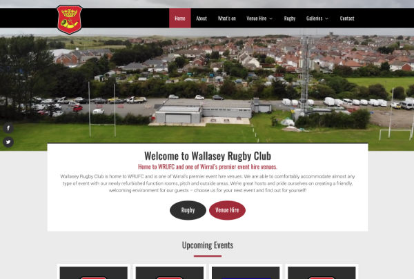 new website design and build for a rugby club in Wallasey