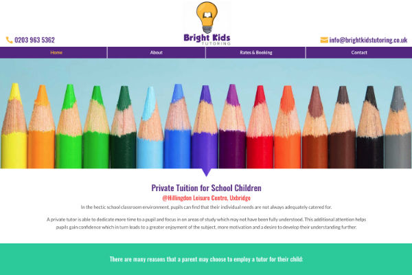 new website for a start-up company offering tutoring services